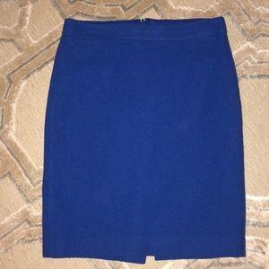 J. CREW Size 2 Cobalt Blue Wool Pencil Skirt